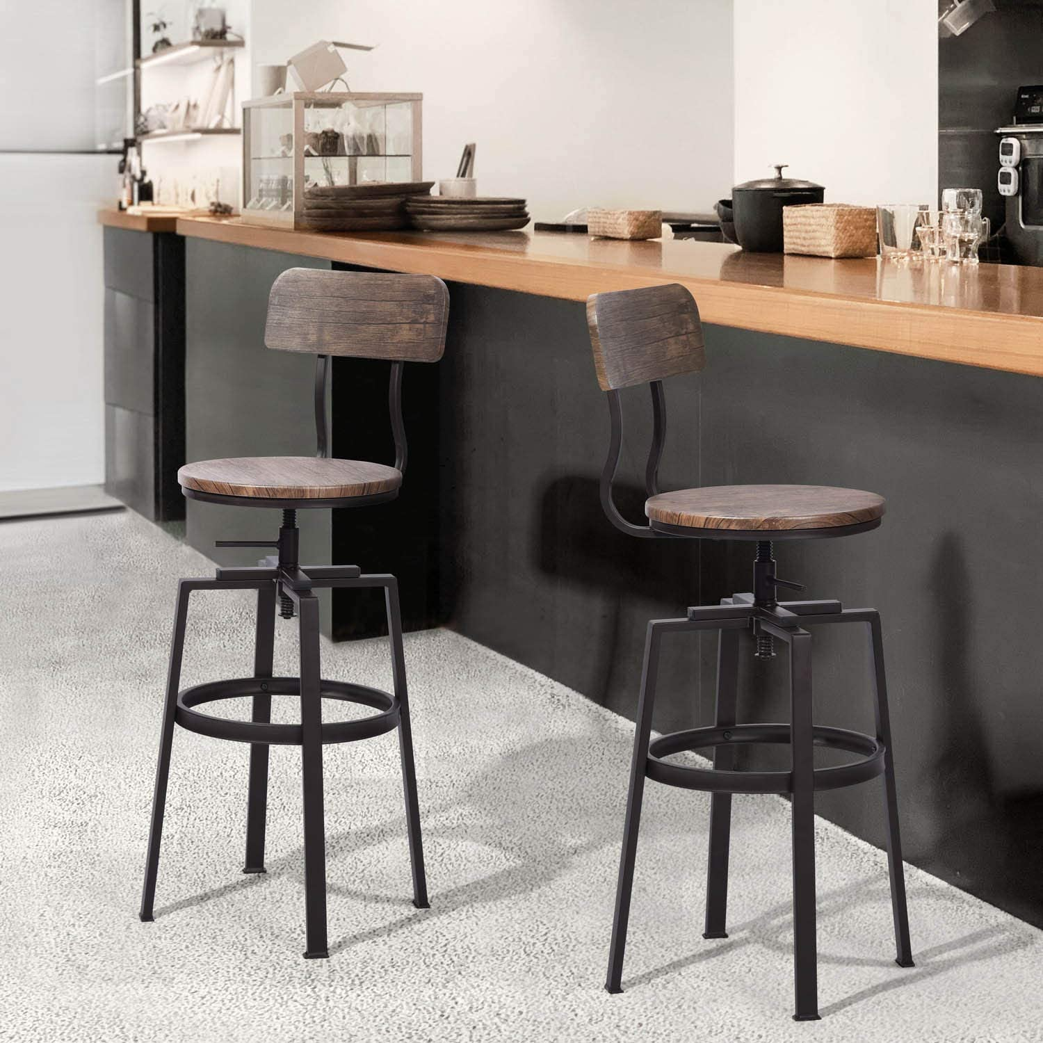 26 29 Height Adjustable Classic Swivel Barstool Brown For Bar Kitchen Island Houseinbox Industrial Bar Stool Set Of 2 Barstools Zuiverlucht Furniture