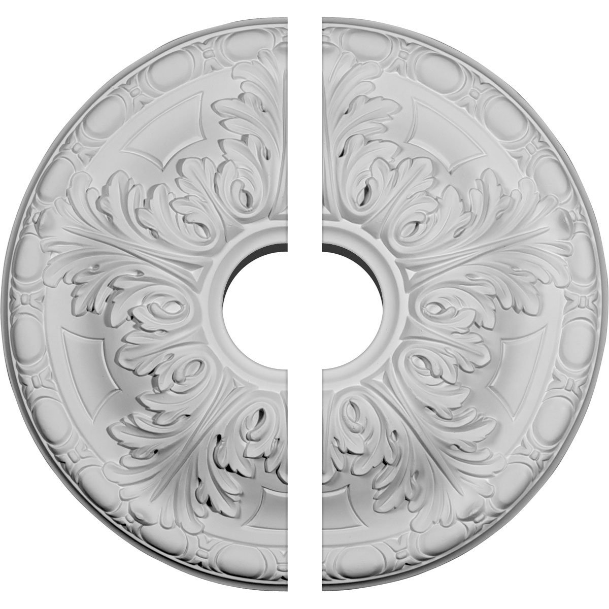 Ekena Millwork CM16GA2-03500 15 3/4''OD x 3 1/2''ID x 5/8''P Granada Ceiling Medallion, Two Piece (Fits Canopies up to 4 1/4''), Factory Primed White
