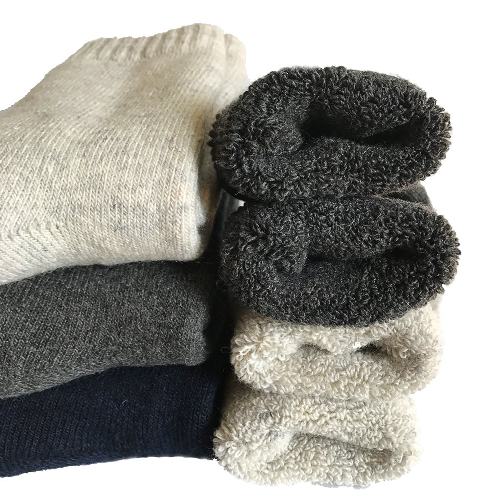 Mens Heavy Thick Wool Socks - Soft Warm Comfort Winter Crew Socks (Pack of 3),Multicolor,One Size 7-12 Yoicy
