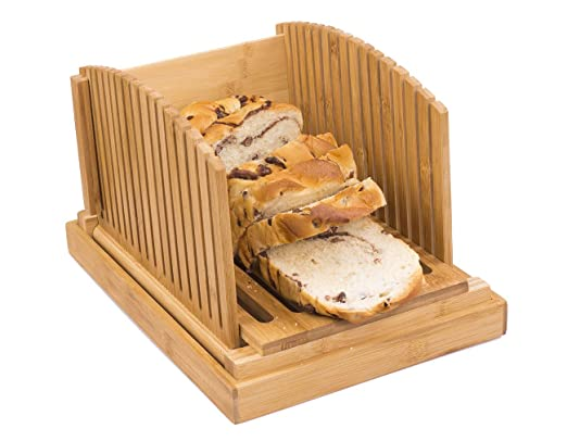 Toughard Bamboo - Cortador de pan compacto y plegable con bandeja ...
