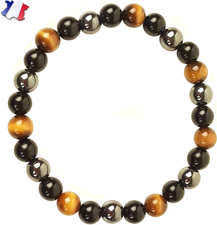 ARMONY PARIS Pulsera Protección, Marca Francesa, Piedra Natural, Litoterapia, Ojo de Tigre Hematita Obsidiana Negra, Perla de 10 mm o 8 mm Pulsera Hombre Mujer, Joyas Mujer Pulsera Amuleto