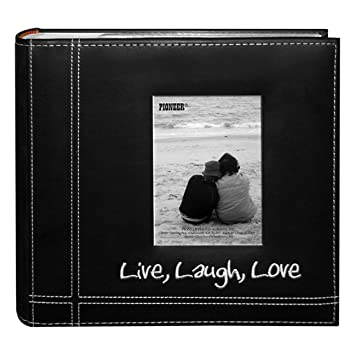 amazoncom pioneer photo albums embroidered live laugh love black sewn leatherette frame cover album for 4x6 prints arts crafts sewing