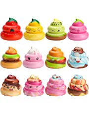 WATINC 12 Pcs Kawaii Soft Poo Squishy Cream Scented Stress Relif Toy, Decorative Props Gift Hand Toy for Kids