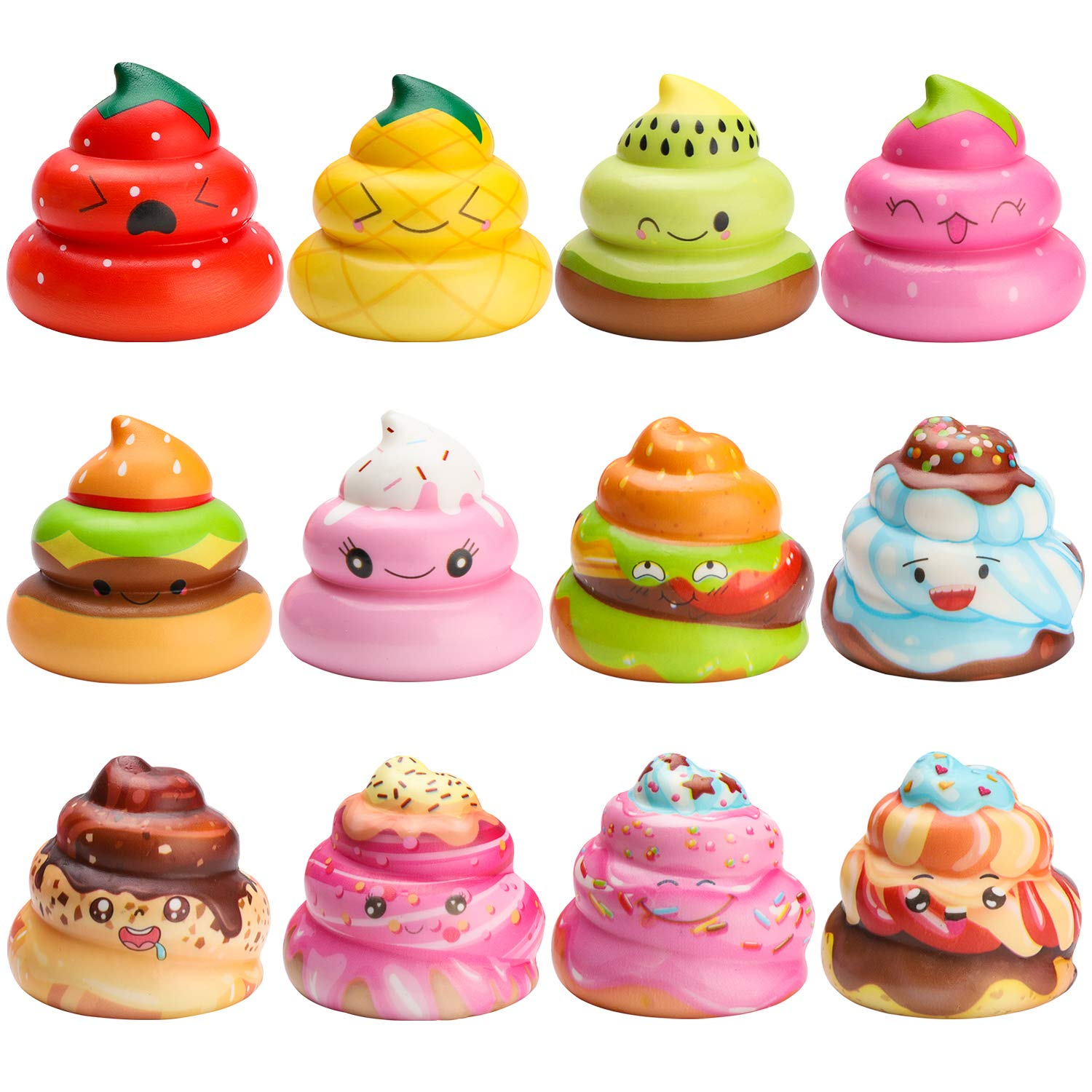 WATINC Random 12 Pcs Kawaii Soft Poo Squishy Cream Scented Stress Relif Toy, Decorative Props Gift Hand Toy for Kids by WATINC