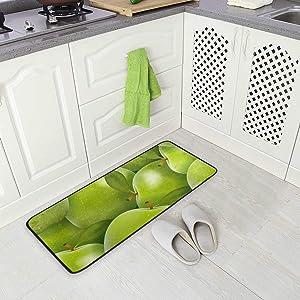 Green Apple Fruit Pattern Kitchen Floor Mat, Non-Slip Comfort Office Standing Cushioned Rug Home Decor Indoor Outdoor, 39