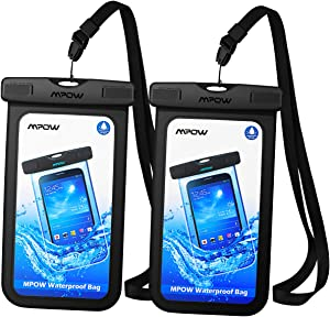 Mpow Universal Waterproof Case, IPX8 Waterproof Phone Pouch Dry Bag Compatible for Iphone XS Max/XS/XR/X/8/8Plus/7/7Plus/6S/6/6S Plus Galaxy S9/S8/S7 Note 9/8 Google Pixel HTC12 (Black+Black 2-Pack)