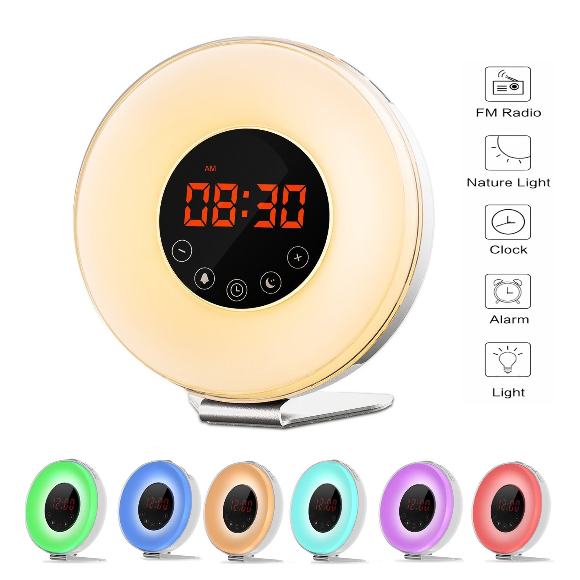 Wake Up Light Digital Smart Alarm Clock with 6 Natural Sounds and FM Radio, Sunrise and Sunset Simulation,7 colors Night light with Snooze Function,Touch Control