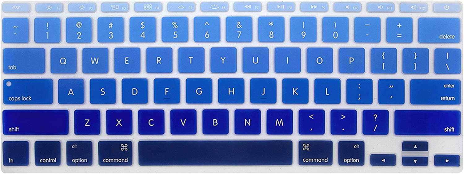 Zhanghouselan Waterproof Ultra Slim Gradual Candy Silicone Keyboard Skin Protector Cover Film Guard for MacBook Air 11 11.6 Inch,Ombre Blue