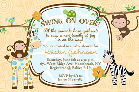Amazon personalized baby shower invitations monkey jungle cards personalized baby shower invitations monkey jungle cards custom printed filmwisefo