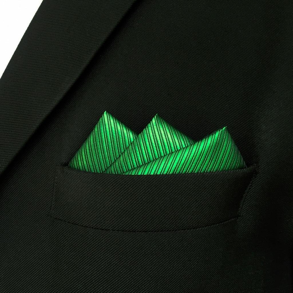 SHLAX&WING Solid Color Green Necktie for Men Business Wedding New Tie Set Long by S&W SHLAX&WING (Image #7)