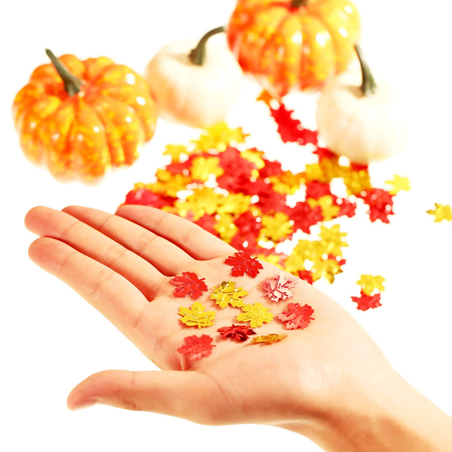 Jetec Fall Leaves Confetti Artificial Autumn Maple Leaves Table Scatters Party Decorations for Thanksgiving Autumns Wedding Decor