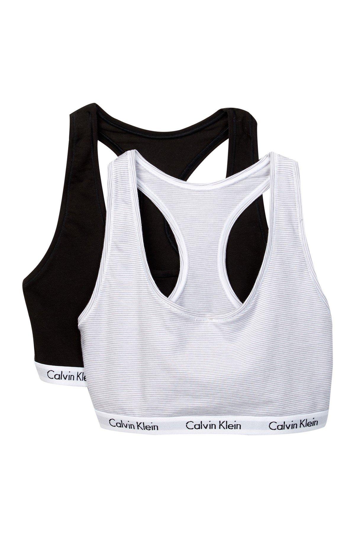 Calvin Klein Modern Cotton Bralette Orion (Medium, Black(QP1114Y-927)/Light Grey Stripes)