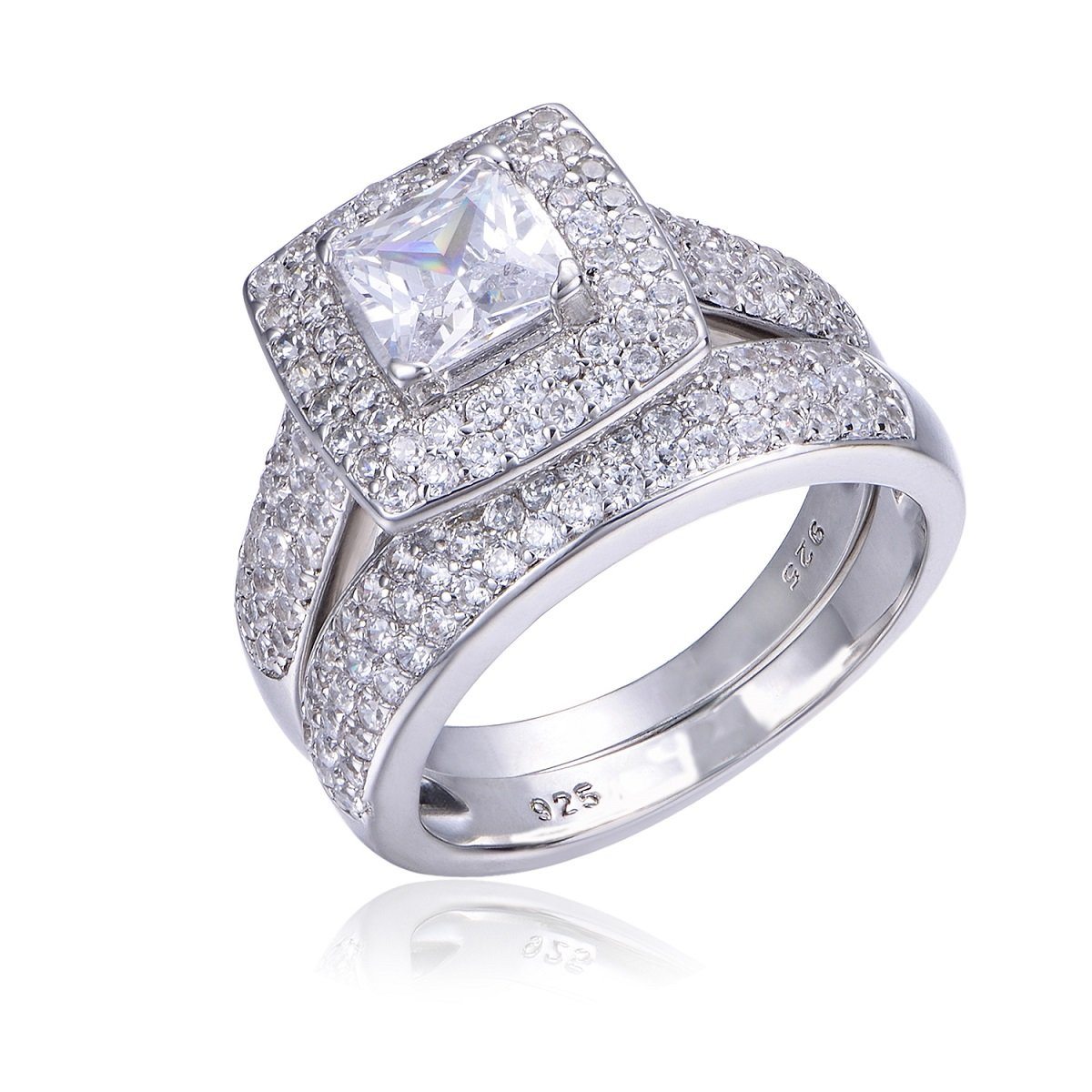 BELITIFY 2.4ct Princess Cut Cubic Zirconia Wedding ring Bands Engagement Bridal Sets 925 Sterling Silver Size 5-11