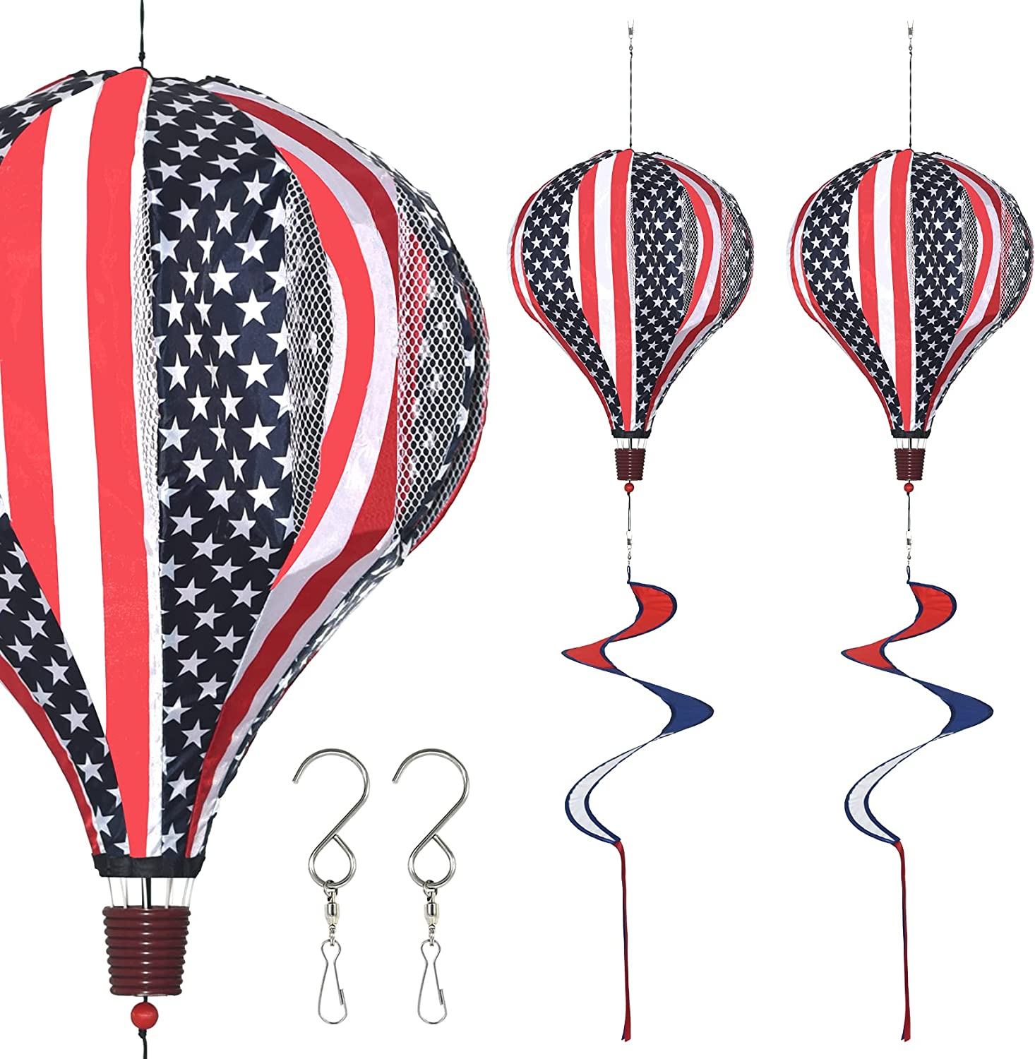 FENELY Giant Flag Hot Air Balloon Garden Wind Spinners Pinwheels Whirligigs Windmill Toys for Kids Yard Decor Lawn Decorations Outdoor Whirlygig Windmills Wind Twister Everyday 59