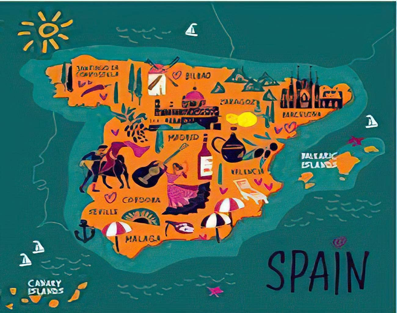 MQPPE Cartoon 5D DIY Diamond Painting Kits, Stylized Map of Spain Travel Spanish Landmarks People Food and Plants Full Drill Painting Arts Set Craft Canvas for Home Wall Decor Adults Kids, 12