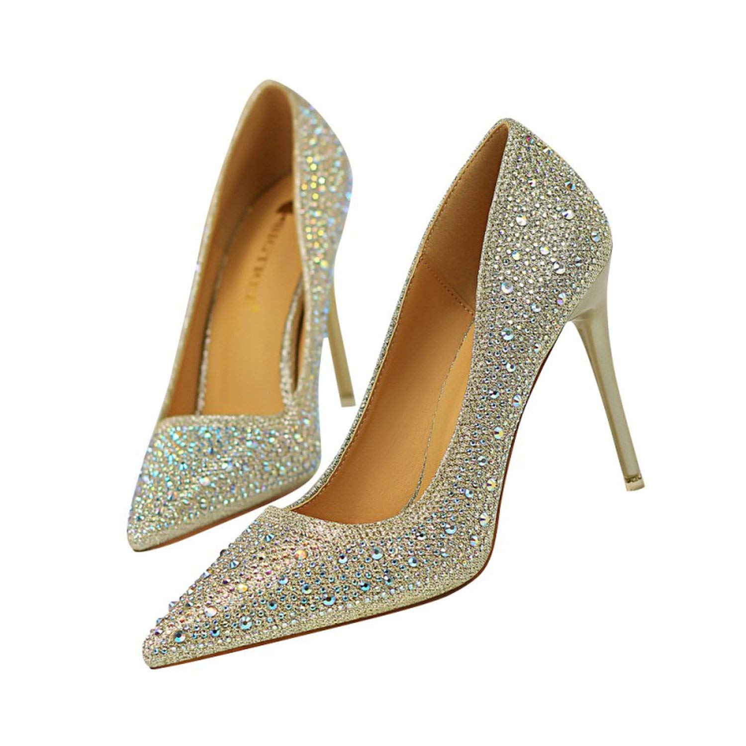 gold coolemon 2019 Spring Wedding Party Women Pumps shoes Woman High Heels Female Crystal Bling Nightclub Stilettos Pointed Toe shoes