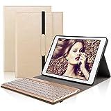 DINGRICH iPad 9.7 キーボード (第五世代、第六世代)ワイヤレスBluetooth キーボード 手帳型 PUレザーケース スタンド機能付き 新型 iPad 2017/2018 キーボード 9.7インチ専用 (金色)