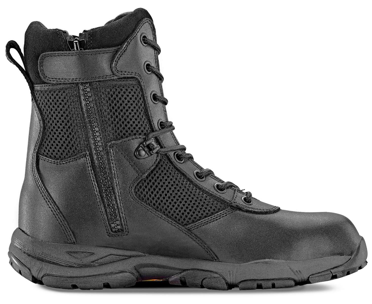 Maelstrom Landship 2.0 Men's 8'' Black Military Tactical Boots with Zipper, Size 13M