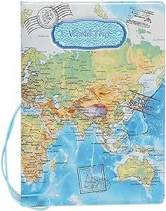 SYMALL Funda de Pasaporte con Estampado Mapa Internacional Encaje ...