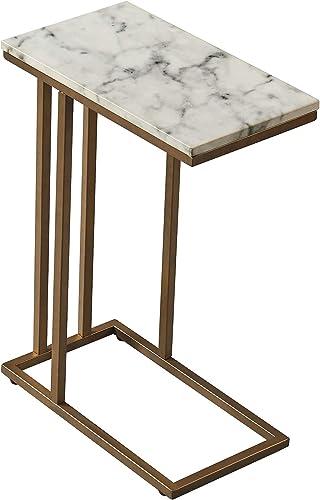 Versanora – Marmo C Shape Table – Faux Marble Brass