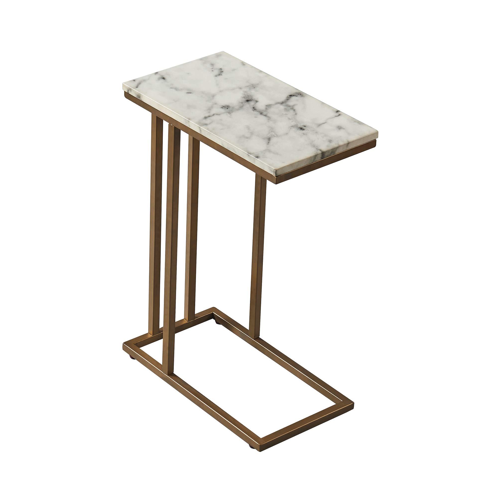 Versanora - Marmo C Shape Table - Faux Marble /Brass
