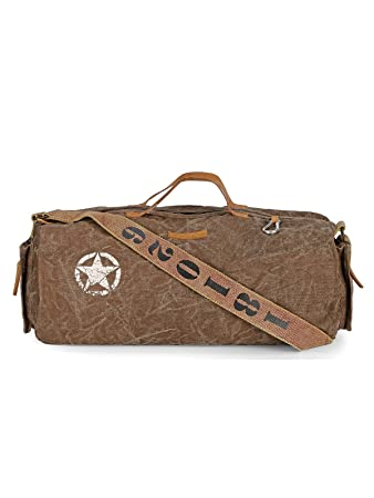 The House Of Tara Distress Finish Canvas Duffle Gym Bag Acorn Brown