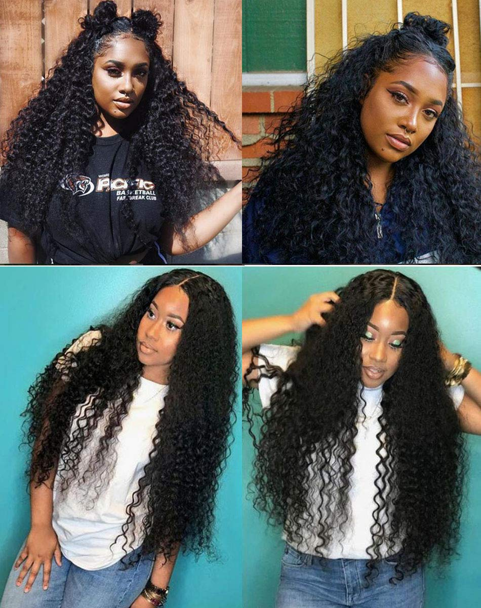 12eabefec Amazon.com : Curly Human Hair Lace Front Wigs 130% Density Brazilian Virgin  Loose Deep Curly Wig with Baby Hair for Black Women 18Inch : Beauty