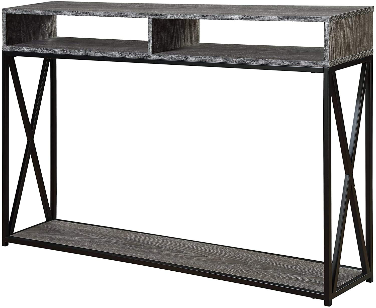 Convenience Concepts Tucson Deluxe 2 Tier Console Table, Weathered Gray / Black