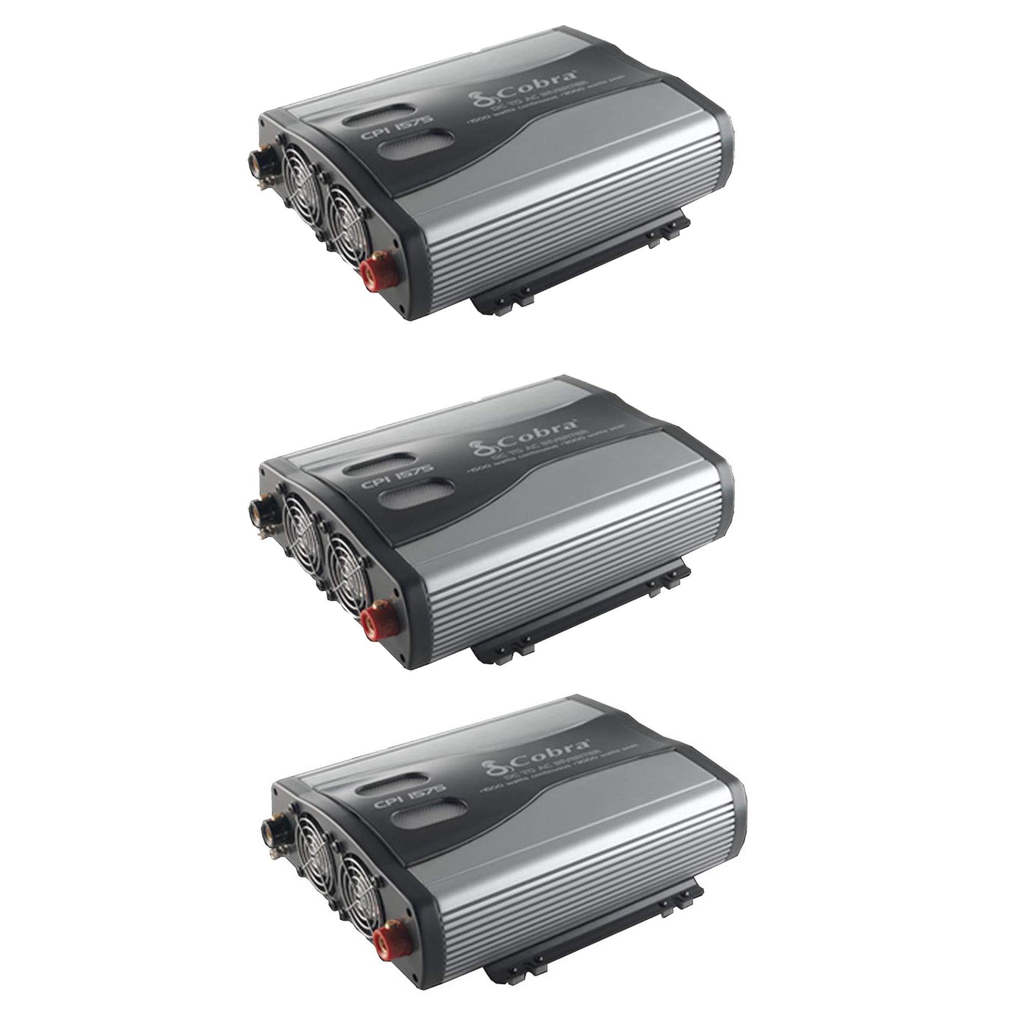 Cobra 1500W 12V DC to 120V AC Car Power Inverter, 3 Outlets and USB (3 Pack)