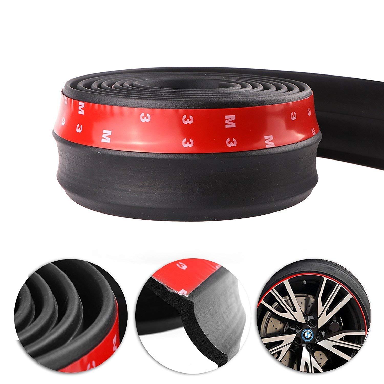 Lypumso Protezione Paraurti per Auto, Spoiler Anteriore Gomma Strisce Modanatura Frontale 2.5m Protezione Universale dell'auto Adesivo Respingente del Labbro Anteriore Forte (Nero Puro)