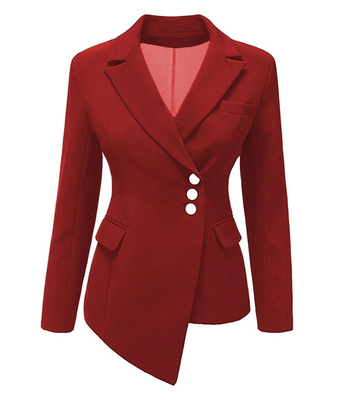 Women's Blazer Casual Work Office Botton Blazer Jacket Solid Color Pettie-Plus Size