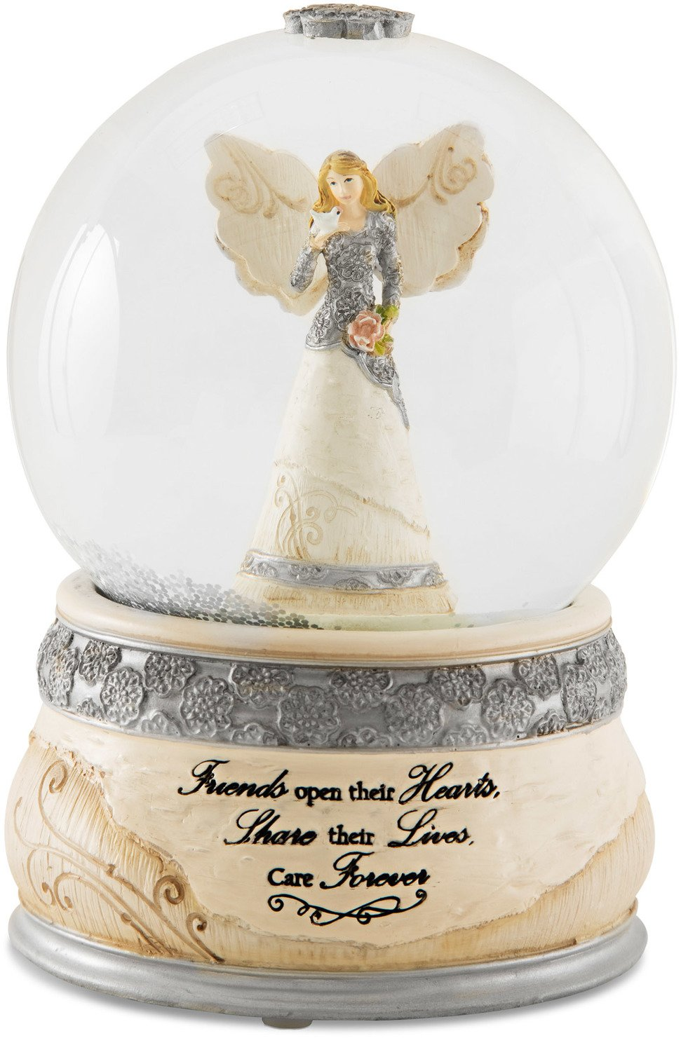 Elements Friends Angel Musical Waterglobe, 6-Inch/100mm, Inscription Friends Open Their Hearts Share Their Lives, Care Forever