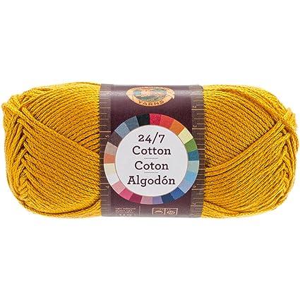 Pack of 3 skeins Golden Rod Lion Brand Yarn 761-158 24-7 Cotton Yarn