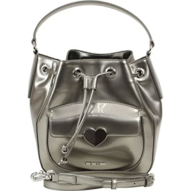 7554d9709424 Amazon.com  LOVE Moschino Women s Cut Heart Patent Bucket Bag Grey Handbag   Shoes