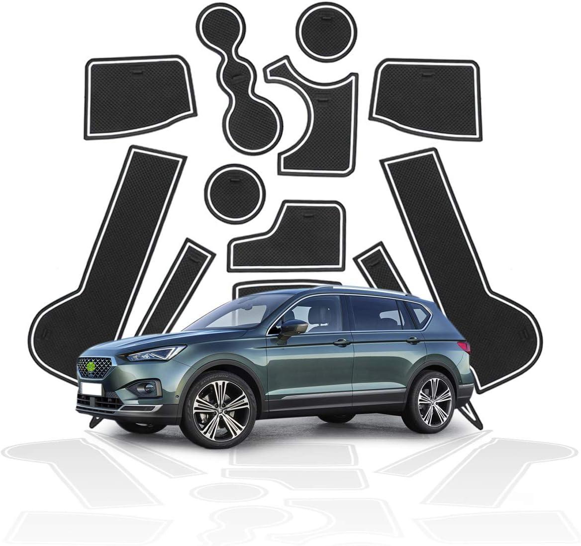 RUIYA rutschfest Auto Innere T/ürschlitz Arm Box Aufbewahrung Matten Pads f/ür 2019 2020 Seat Tarraco Schalen-Matte Tor-Schlitz-Auflage Automobildekoration mit Logo 5 Pl/ätze Anti-Staub- Rot