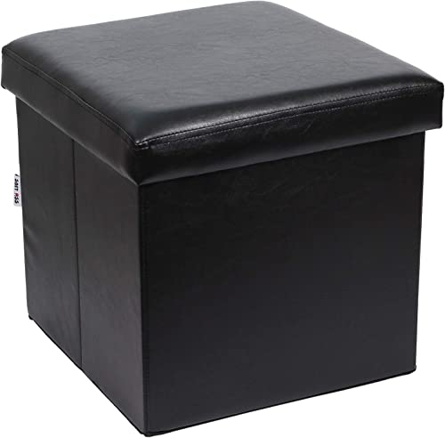 15 inches Foldable Storage Ottoman Black Faux Leather Cube Storage Footstool