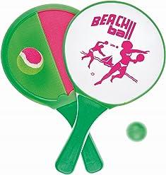 Idena 7408444 - 2 in 1 Beachballset, 2 Schläger und Bälle
