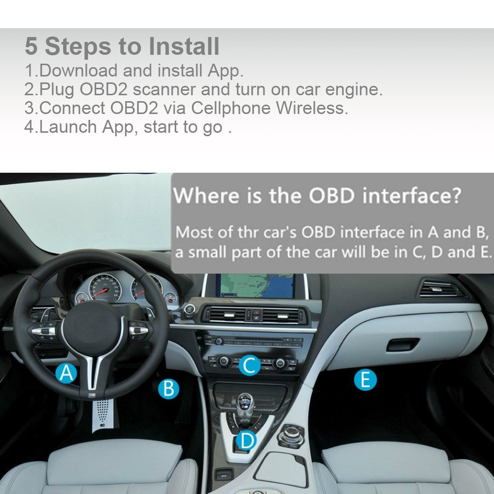 DOSNTO Car Wifi OBD2, Wireless ODB 2 Scanner, Wifi Diagnostic OBDII Reader/Scanner, Features 3000 Code Database, Check Engine Light Code Reader Diagnostic Scanner for Android And IOS by DOSNTO (Image #7)