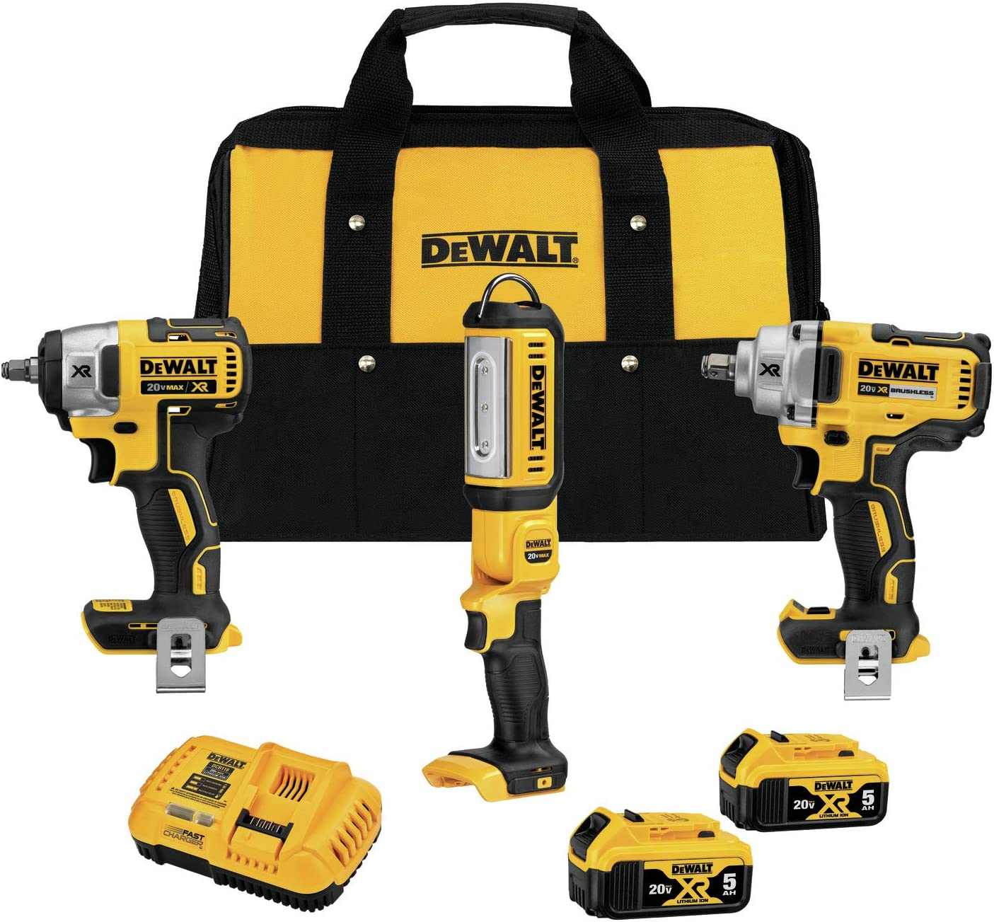 DEWALT 20V MAX XR Impact Wrench Combo Kit, 1/2-Inch & 3/8-Inch with LED Handheld Area Light, 3-Tool (DCK302P2)