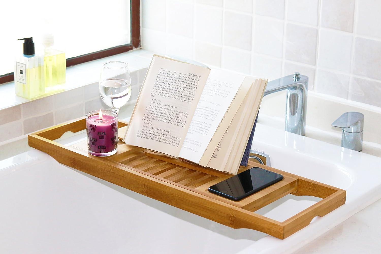 Amazon.com: DozyAnt Bathtub Caddy Bamboo Bathtub Tray, Made Of 100 ...