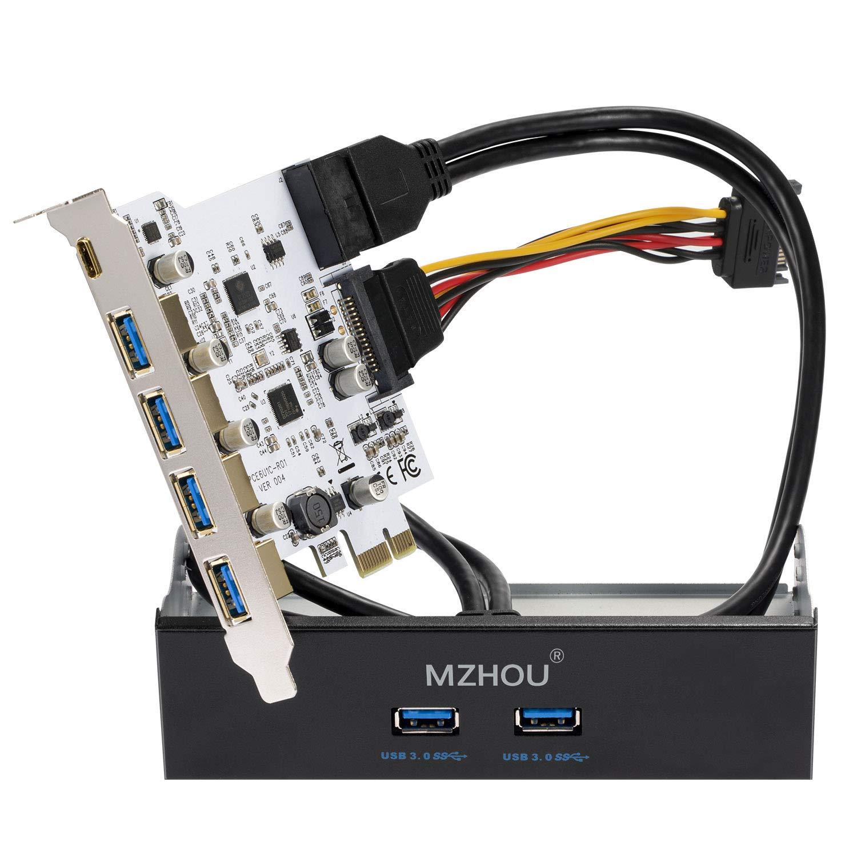 Mzhou Tarjeta PCIe USB 3.0 de 7 puertos, 5 puertos USB 3.0 y ...