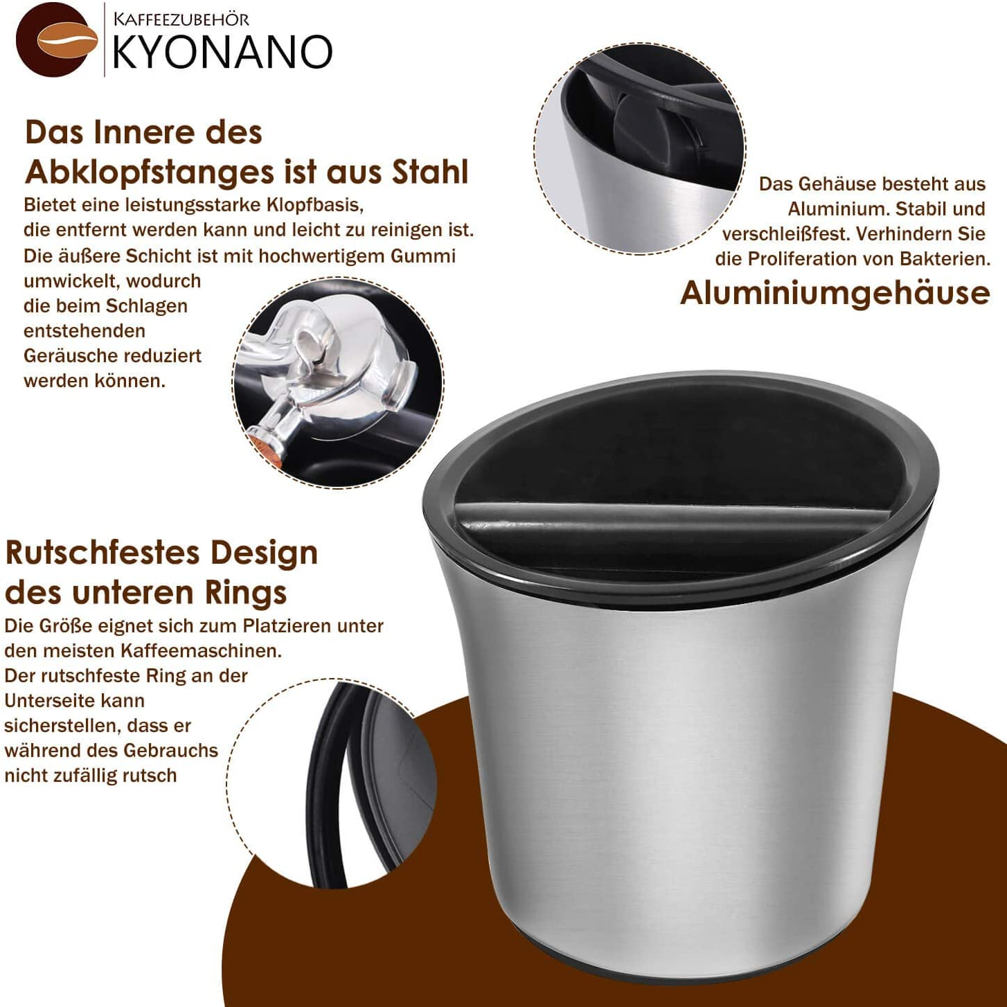 Hochwertiger Metall Abklopfbeh/älter f/ür Siebtr/äger Knock Box Silikonmatte Espresso Abklopfbeh/älter Abschlagbeh/älter Siebtr/äger Zubeh/ör KYONANO Abklopfbeh/älter Abschlagbox f/ür Kaffeesatz inkl