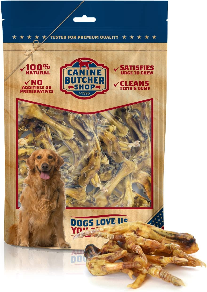 Canine Butcher Shop All-Natural Chicken Feet for Dogs Premium Sourcing, Single Ingredient Dog Treat, Made in USA, Rich in Glucosamine