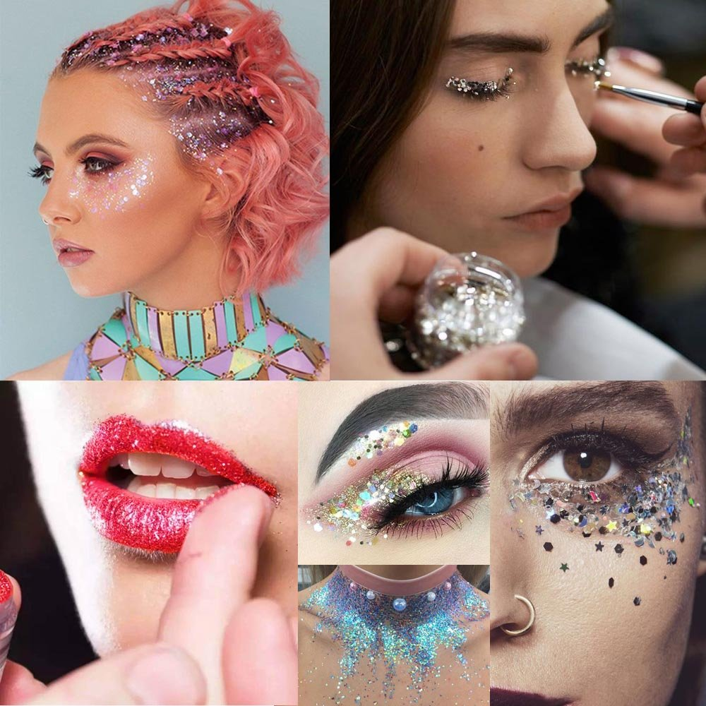 Body Glitter for Face Hair and Nail with Long Lasting Fix Glue, 6 Colors Holographic Chunky Glitter Cosmetic Makeup Party Decoration Temporary Tattoos by Bicmte (Image #3)