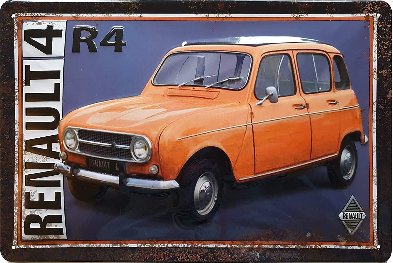 Renault R4 Oldtimer Blechschild Hochwertig Geprägtes Retro Werbeschild Türschild Wandschild 30 X 20 Cm Küche Haushalt