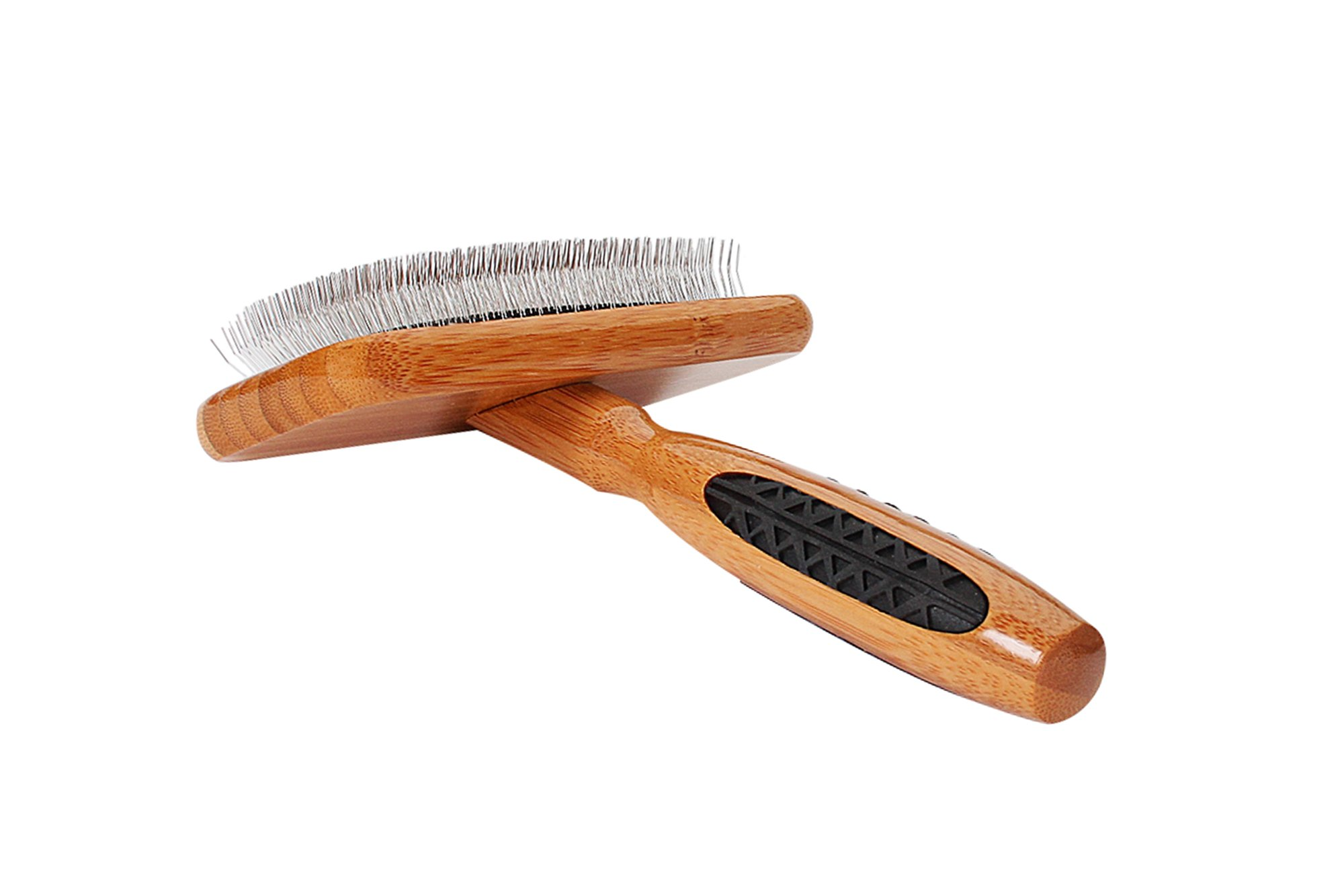 Bass Brushes Soft Slicker Pet Brush with Bamboo Handle and Rubber Grips