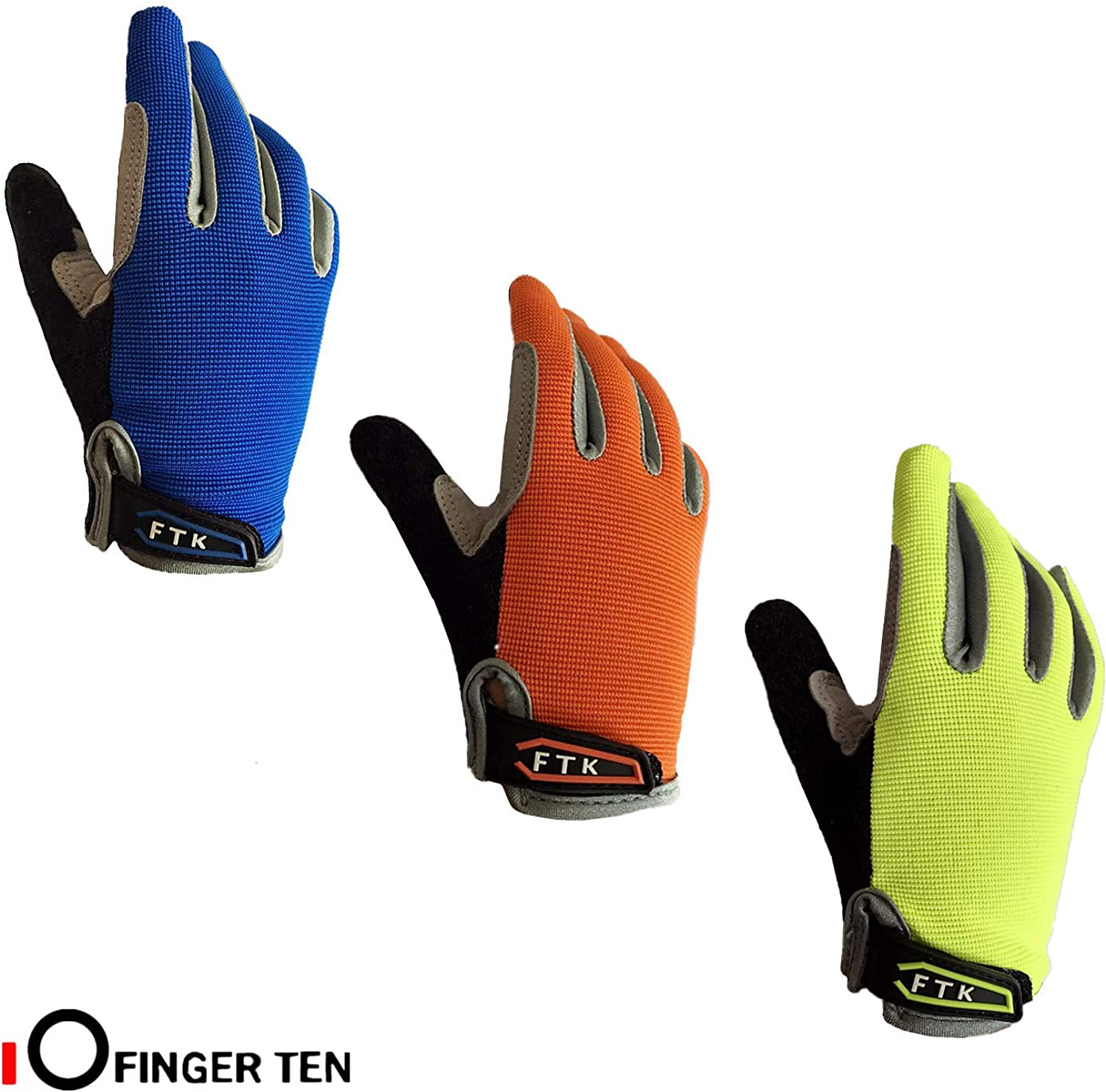 Color Blue Orange Age 2-11 Cycling Gloves Kids Boys Girls Youth Full Finger Pair Bike Riding Children Toddler Touch Screen Mountain Road Bicycle Warm Cold Weather Gel Padded