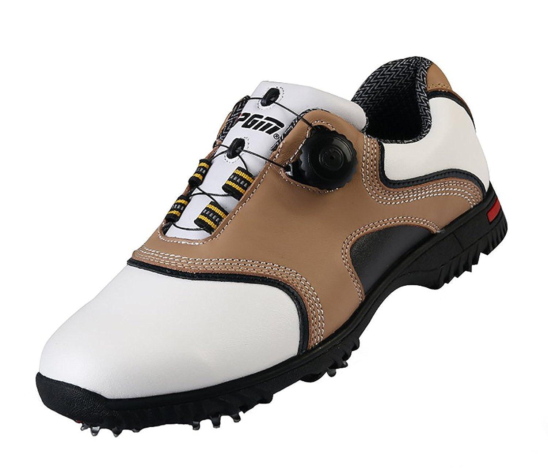 26.5 cm メンズ スパイク(シューズバック付き) 防水 [ロモンス] イングランド風 ゴルフシューズ カーキ 滑り止め 牛革 B01M1IE77G BOAダイヤル式 Golf