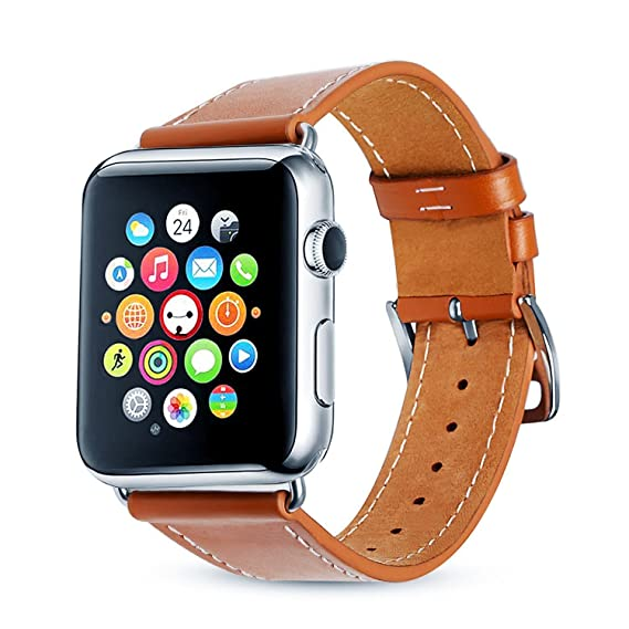 for Apple Watch Bands,BEOOTCR Soft Genuine Leather Watch Replacement Bands Straps with Classic Metal