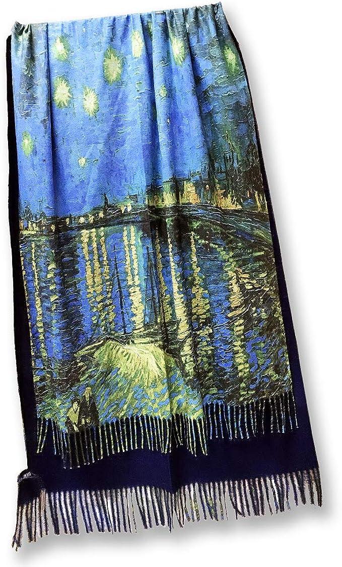 all sas Bufanda de cachemira con flecos Van Gogh | Noche estrellada en el rodano.